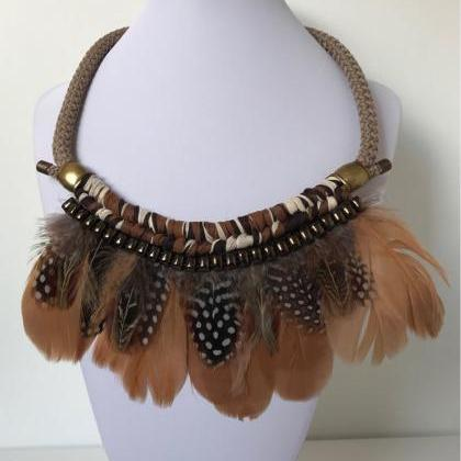 Feathers necklace 263- brown goose ..