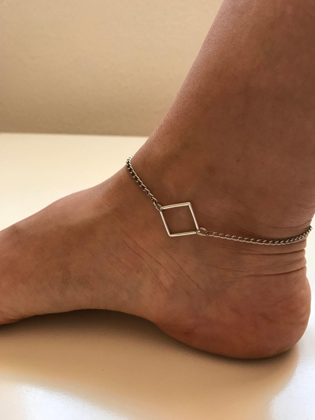 Geometry Anklet 326- faith friendship rocker metal chain anklet square circle gift adjustable current womenswear unique innovative gift