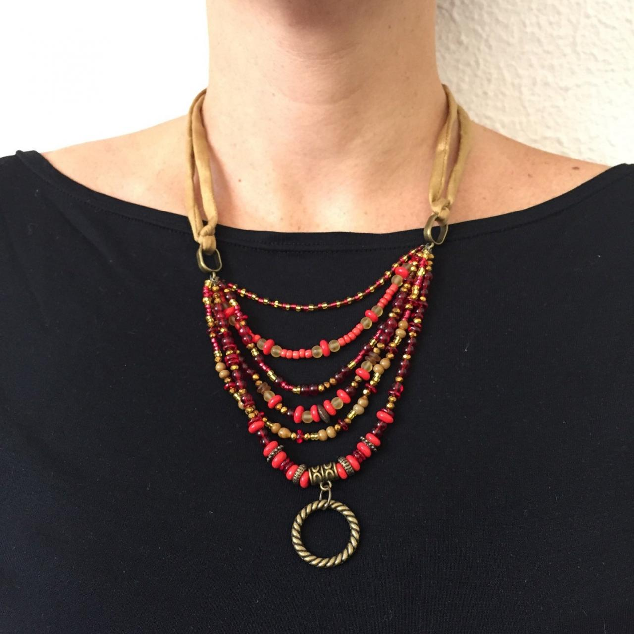 Karma necklace 254- red gold karma beaded bohemian aged gold boho chic jewelry necklace gift