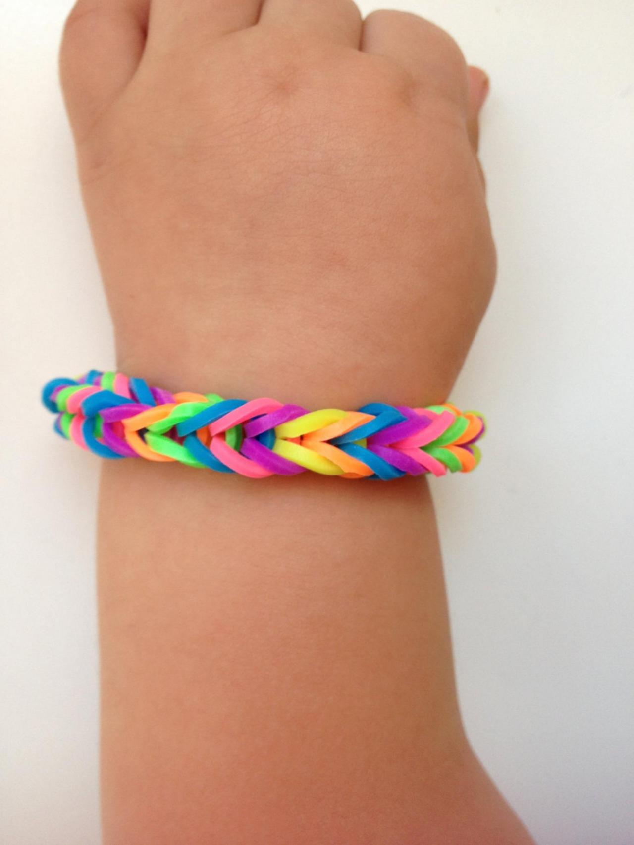 Little girl bracelet 69- little girl fashion rubber bands jewelry for Kids rainbow.