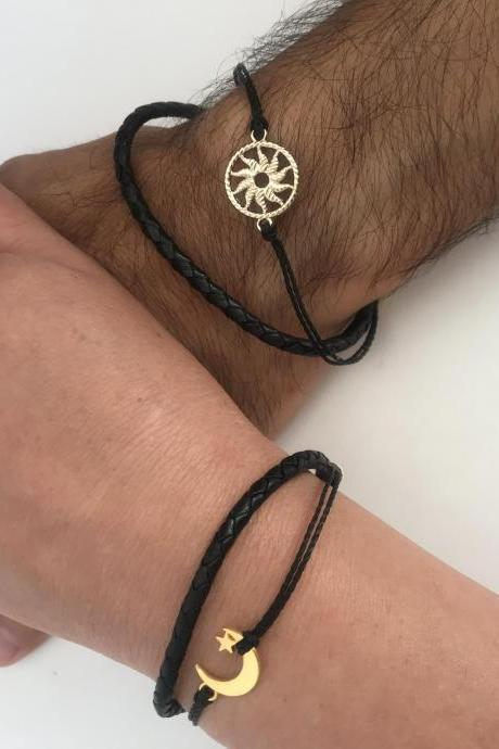 Golden sun & moon couple bracelets, long distance relationship, friendship, matching bracelets