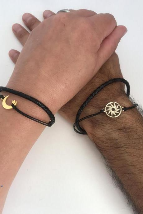 Couples Bracelets 369-men women bracelets , friendship love cuff golden moon and sun leather anniversary gift adjustable matching bracelet long distance relation