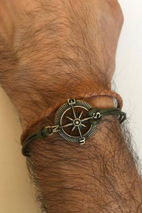 Men Bracelet 367- genuine leather compass charm green waxed cotton friendship cuff bracelet gift braided leather current