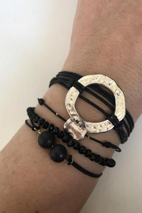 Karma Pack Bracelet 366- set of 4 stackable bracelet adjustable karma black handmade beads lava stone