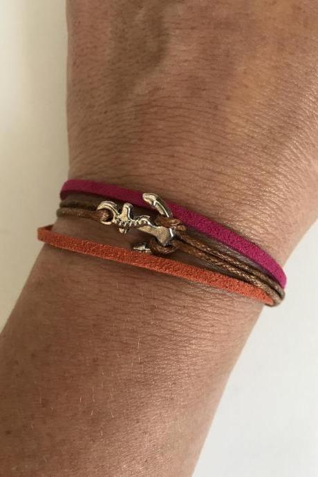 ANCHOR BRACELET 361- friendship anchor Bracelet Pink orange alloy silver metal charm women's JEWELRY Boho