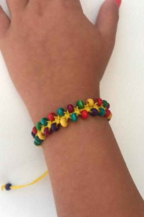 Little girl bracelet 346- macrame little girl fashion wood beads rainbow color jewelry for Kids