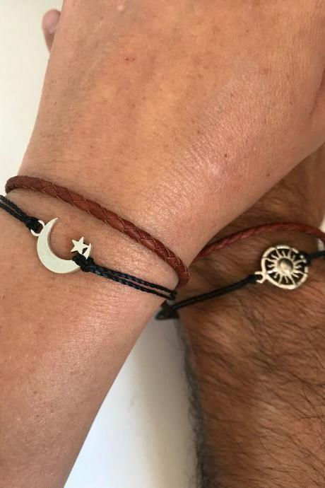 Men Women Couples Bracelets 345- sun and moon friendship love cuff silver charm bracelet leather braid gift adjustable current trendy