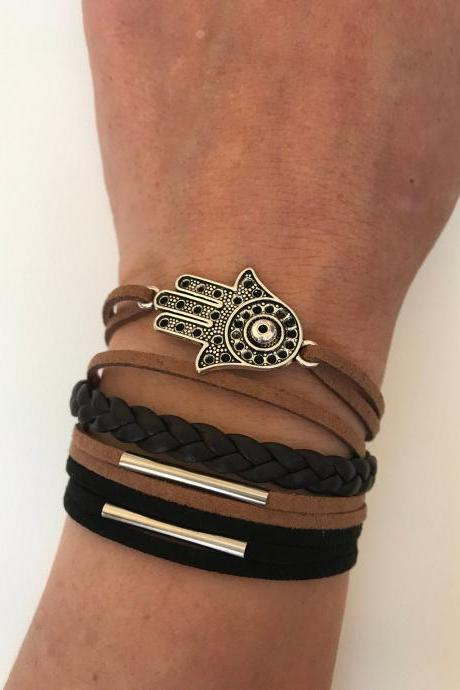 Hamsa Leather Bracelet 324 - faith good luck cuff hamsa bracelet leather braid black brown gift adjustable current womenswear