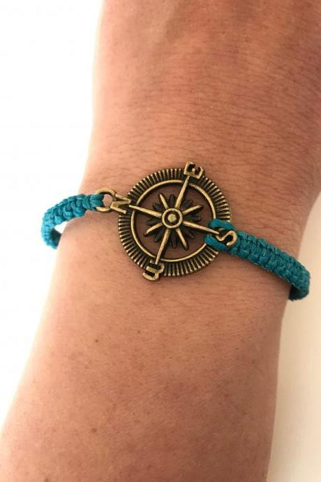 Compass Macrame Bracelet 323- compass kabbalah friendship cuff bracelet turquoise alloy metal bronze gift adjustable current