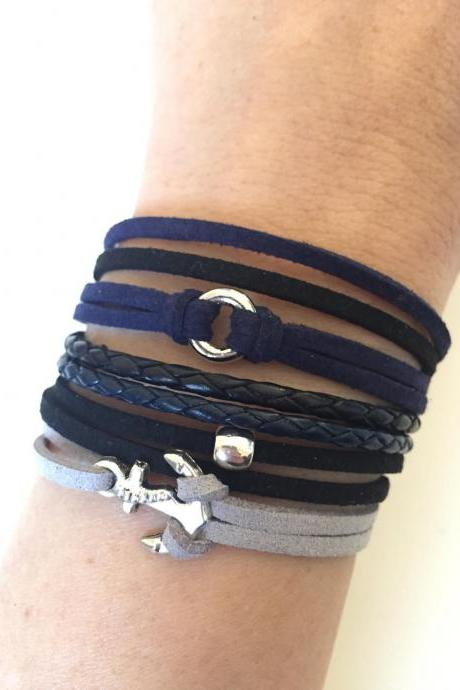 Anchor Bracelet 320- friendship faith alloy silver charm bracelet blue leather braid black grey faux suede genuine leather gift adjustable