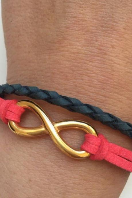 Leather Bracelet 318- friendship cuff golden infinity bracelet ted blue navy leather braid gift adjustable current womenswear trendy karma
