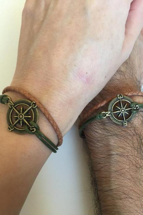 Men Women Couples Bracelets 315- men women jewelry, friendship love cuff bronze compass charm bracelet leather braid gift adjustable waxed cotton boyfriend girlfriend