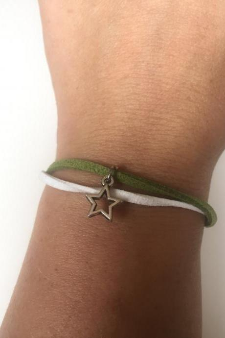 Dallas Star 310- friendship hockey faux suede green white star bracelet gift adjustable current womenswear autumn winter unique