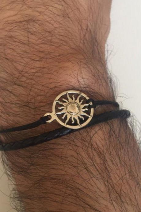 Sun Men Bracelet 310- men jewelry, black leather braid alloy silver metal sun charm friendship cuff bracelet gift current unique boho