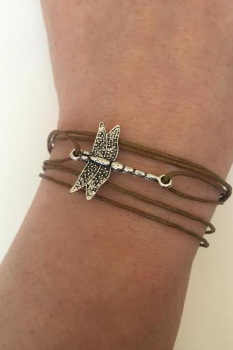 Dragonfly Bracelet 306 - faith friendship waxed cotton cuff bracelet dragonfly positive energy gift adjustable current animals jewelry