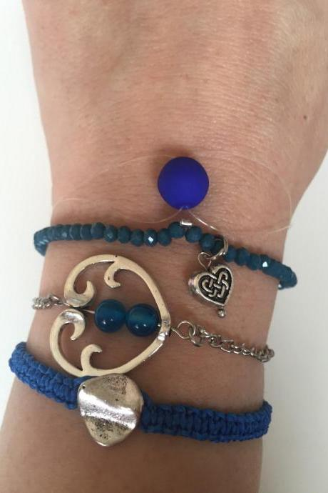 Pack Bracelet 303 -blue faith friendship heart sign macrame beads alloy silver metal chain