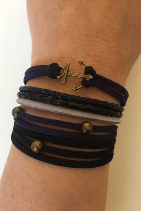 Anchor Bracelet 319 - faith friendship anchor charm bracelet leather braid gift black blue navy grey adjustable current womenswear unique