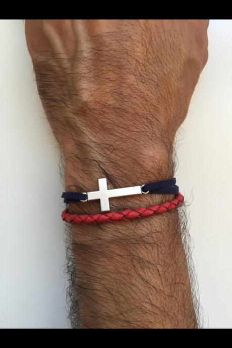 Men Bracelet 195- Men jewelry red leather braid blue faux suede cross charm friendship cuff bracelet gift current unique faith