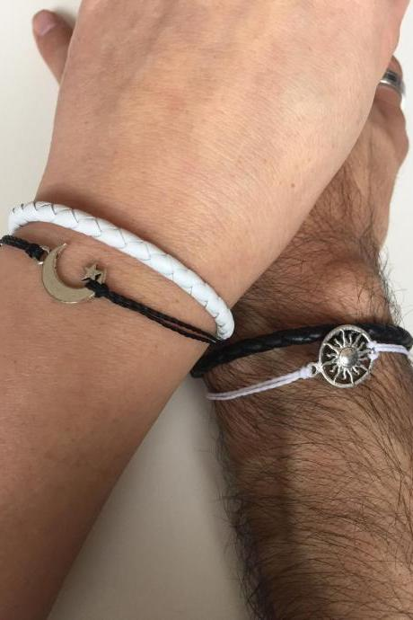 Couples Bracelets 299-Men bracelet women bracelet, friendship love cuff moon and sun bracelet leather braid gift adjustable current trendy innovative