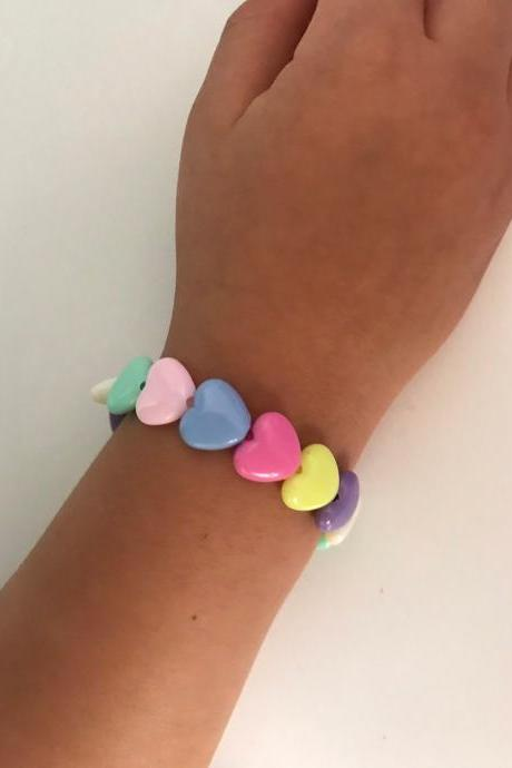 Little girl bracelet 151- heart little girl fashion plastic beads rainbow color jewelry for Kids
