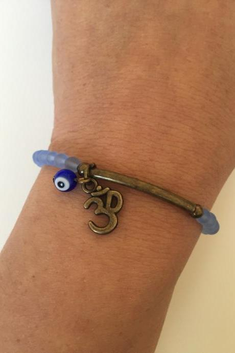 Evil eye Bracelet 277 - Kabbalah faith ohm charm cuff bracelet talisman positive energy gift adjustable current womenswear faux