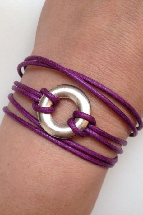 Karma Bracelet 188- friendship faith purple waxed cotton cuff bracelet karma positive energy gift adjustable current womenswear unique