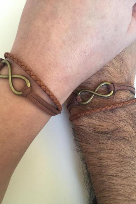 Couples Men Women Infinity Bracelets 283- friendship love cuff bronze infinity charm bracelet leather braid gift adjustable boyfriend girlfriend