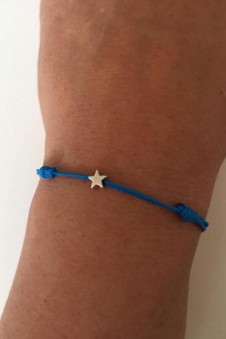 Star Bracelet 272- friendship star Kabbalah charm nylon cord bracelet alloy silver lucky gift adjustable current womenswear trendy