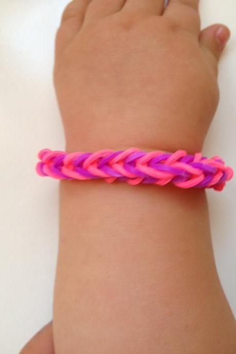Little girl bracelet 70 - little girl fashion rubber bands jewelry for Kids pink and purple