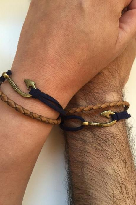 Couples Men and Women Bracelets 198- friendship love cuff fish hook bracelet leather braid gift adjustable current trendy innovative