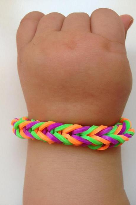 Little girl bracelet 74- little girl fashion rubber bands jewelry for Kids purple orange green.