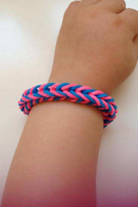 Little girl bracelet 73- little girl fashion rubber bands jewelry for Kids blue pink.