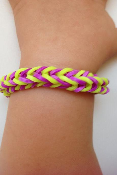 Little girl bracelet 72- little girl fashion rubber bands jewelry for Kids yellow purple.