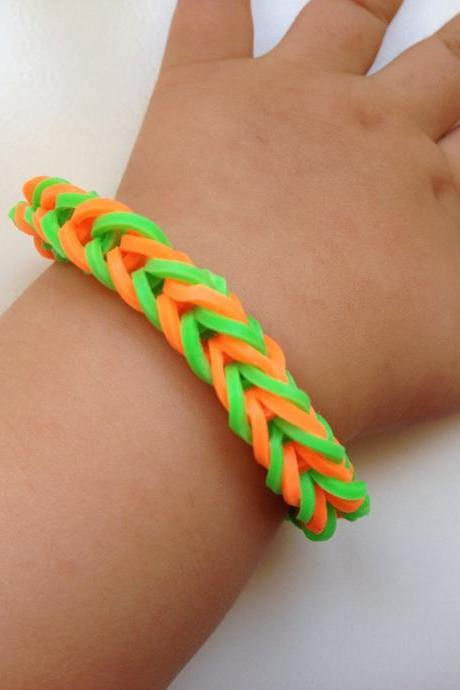 Little girl bracelet 71- little girl fashion rubber bands jewelry for Kids green orange.