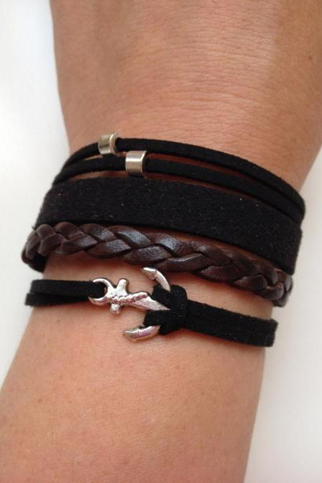 Leather Bracelet 34 - friendship cuff anchor bracelet brown black leather braid gift adjustable current womenswear unique innovative