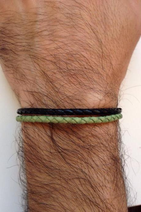 Men Bracelet 152- leather braid green black trendy friendship cuff bracelet gift adjustable current unique