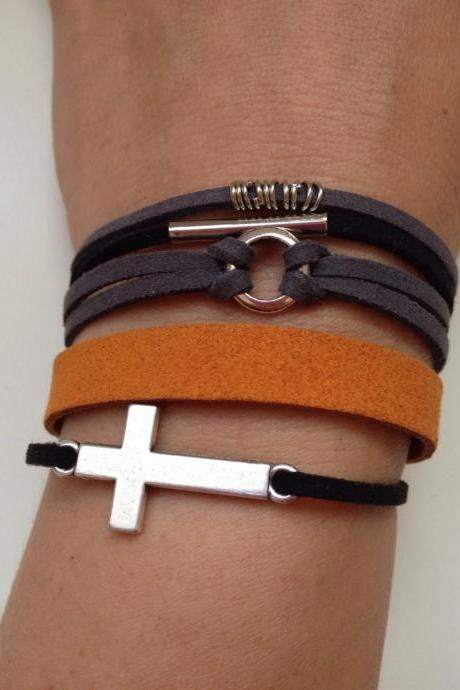 Cross Faux suede Bracelet 59 - faith friendship rocker cuff cross bracelet black orange rings gift adjustable current womenswear unique