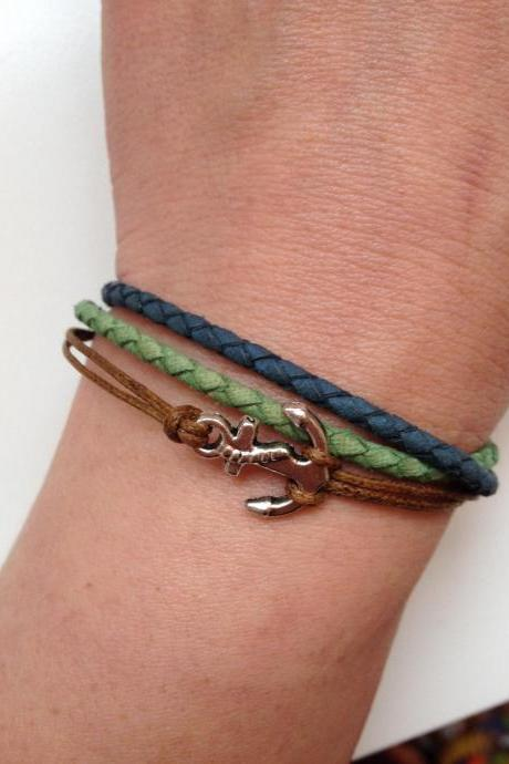 Leather Bracelet 174- friendship cuff bracelet blue green leather braid gift adjustable current womenswear unique innovative trendy