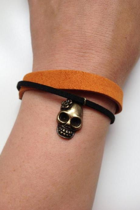 Skull Bracelet 58- rocker friendship cuff faux suede bracelet gift adjustable current womenswear unique innovative creative