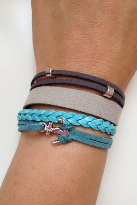 Leather suede Bracelet 38 - friendship cuff anchor bracelet grey blue plastic braid gift adjustable current womenswear unique innovative