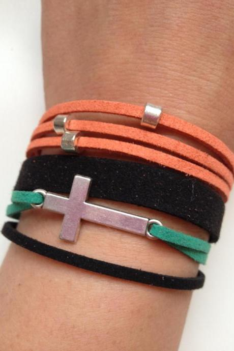 Cross Bracelet 18 - faith friendship rock and roll cuff cross bracelet faux suede black green orange gift adjustable current womenswear un