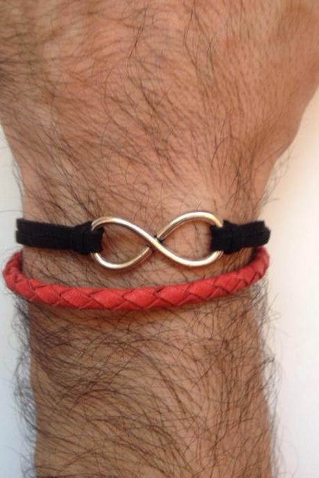Men Bracelet 166- red leather braid black faux suede trendy friendship cuff bracelet gift adjustable current unique