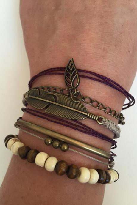 Pack Bracelet 260 - fall bracelet faith friendship macrame feather charm woods beads bronze alloy bronze leaf ,metal chain