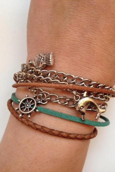 Multi strip Bracelet 139- friendship genuine leather braid metal chain cuff bracelet fish dolphin helm trendy gift adjustable