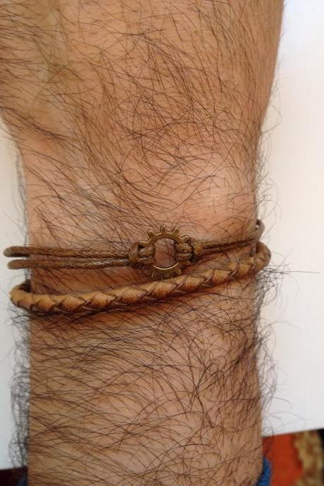 Men Bracelet 183- leather braid brown gear charm trendy friendship cuff bracelet gift adjustable current unique
