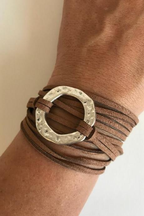 Wrap karma Bracelet 106 - friendship faith faux suede brown cuff bracelet karme positive energy gift adjustable current womenswear autum