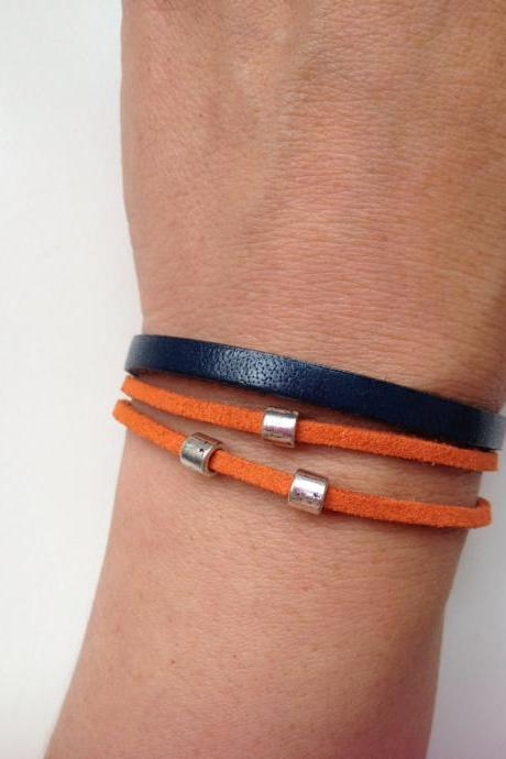 Broncos Denver Bracelet 101 - broncos denver painted leather cuff ring bracelet blue navy orange leather gift adjustable current womenswear