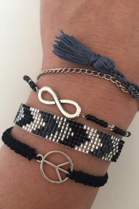 Mix set Bracelet 248 - faith friendship loom beaded miyuki peace sign macrame infinity charm silk tassel alloy silver metal chain