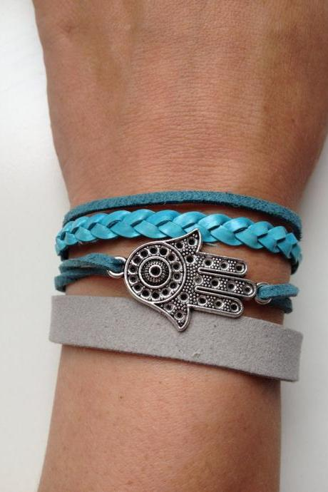 Leather suede Bracelet 57- faith friendship cuff hamsa bracelet braid blue grey gift adjustable current womenswear unique innovative
