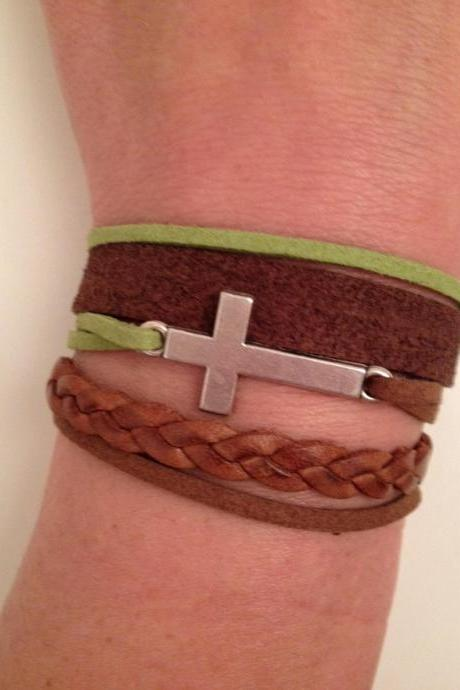 Cross Leather Bracelet 21 - faith friendship cuff cross bracelet brown green leather braid gift adjustable current womenswear unique